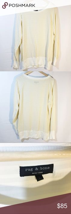 RAG & BONE cream long sleeve tee pleated Like new condition. Gorgeous ivory cream top, longer so would look great with leggings. rag & bone Tops