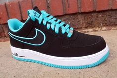 Nike Air Force 1 Low - Turquoise Blue & Black | KicksOnFire