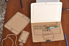cardboard laptop iphone and ipad. Do you think Birdie would like these or just be mad that they don't work? Diy For Kids, Crafts For Kids, Cardboard Crafts, Cardboard Playhouse, Electronic Toys, Diy Toys, Kids Playing, Activities For Kids, Diy And Crafts