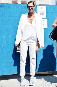 Jenna Lyons in all white with a hint of metallic