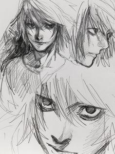 from Death Note. Pretty Art, Cute Art, Death Note L, Death Note Fanart, Arte Sketchbook, Art Drawings Sketches Simple, Wow Art, Anime Sketch, Anime Kawaii