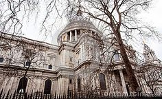 A view of St Paul`s cathedral in the city of London, England.