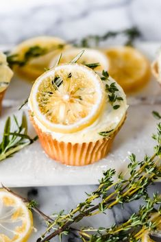 Lemon, Thyme, and Rosemary Cupcakes - The G & M Kitchen Lemon Cupcakes, Cupcake Cakes, Bundt Cakes, Tolle Cupcakes, Baking Recipes, Dessert Recipes, Lemon Desserts, Dessert Aux Fruits, Stick Of Butter