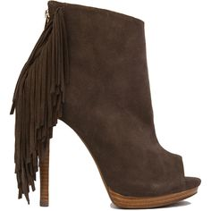 So fresh & so fringed.  The Naughty Monkey Taupe Fringe Peep Toe Heeled Booties feature a sleek suede covered vamp, peep toe, tapered wood heel, functional bac…