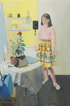 """""""Girl and Geranium,"""" Fairfield Porter, 1963, oil on canvas, 45 x 30"""", private collection."""