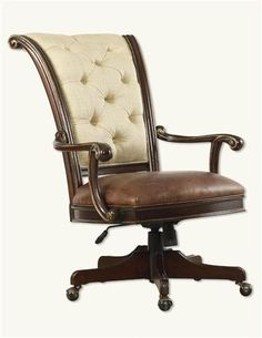 Tufted Linen Ladies Desk Chair