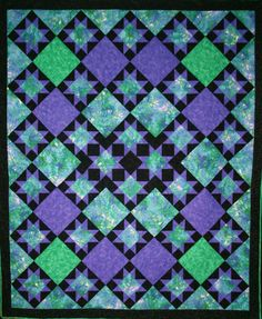Periwinkle Stars quilt by Jeanne Johnson | Sew Different Gifts