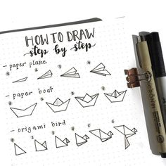 How to draw a paper plane, a paper boat, and an origami bird Bullet Journal Paper, Bullet Journal 2019, Bullet Journal Ideas Pages, Bullet Journal Inspiration, Paper Boat Origami, Origami Bird, Origami Plane, Diy Origami, Sketch Note