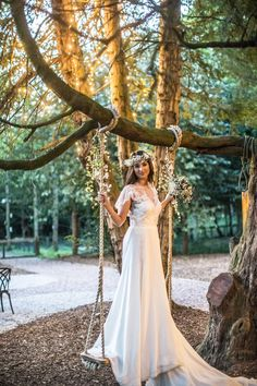 Magical woodland weddings creative inspiration shoot at Beamish Hall. Bride in gorgeous jenny packman dress. surrounded by fairy lights, pom poms and fir pits. New woodland wedding ceremony venue in Durham