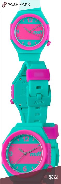 NWT NEFF STRIPE WATCH TEAL PINK- Unisex Out of stock in most stores. Unisex. New with tags. The Stripe teal and pink analog watch from Neff offers eye-catching style to finish off any look. The teal, hexagonal case has a pink stripe running across the face and a crown placement at 4 o'clock. Neff Accessories Watches