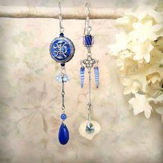 Mystic Blue - OOAK, Cobalt Blue Cloisonne Asymmetrical Earrings by MiaMontgomery