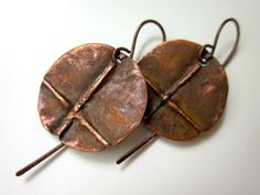 A Time Before Kings -primitive industrial fold formed copper disc circle pagan dark rusty red patina inverted cross coin lightweight earring by LoveRoot