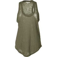 IRO Khaki Sleeveless Destructed Linen Top (5,520 INR) ❤ liked on Polyvore featuring tops, shirts, tank tops, tanks, sleeveless, sleeveless tank tops, green shirt, ripped shirts, khaki shirt and green linen shirt