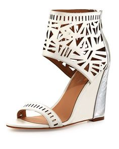 Turks Geometric Cutout Wedge, White/Silver by Nicole Miller at Neiman Marcus Last Call.