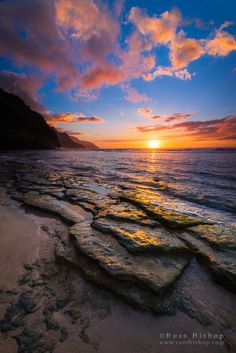 """Aloha Spirit - Sunset over the Na Pali Coast from Ke'e Beach, Haena State Park, Kauai © Russ Bishop / All Rights Reserved www.russbishop.com If you'd like to purchase a print or license this image please visit my website at <a href=""""http://www.russbishop.com/image/I0000wAa6kFVDZks"""">russbishop.com</a> The north shore of Kauai is the essence of Hawaii. From the rugged Na Pali Coast to the lush tropical valleys, Paradise is the word that keeps coming to mind. Aloha ~ Enjoy!"""
