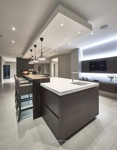 Modern Kitchen Interior Remodeling Kitchen by Grid Thirteen Ltd designer Natalie Fry, Photography by Andy Haslam Kitchen Ceiling, Dream Kitchens Design, Luxury Kitchens, Kitchen Remodel, Kitchen Decor, Contemporary Kitchen, Modern Kitchen Design, Best Kitchen Designs, Luxury Kitchen Design