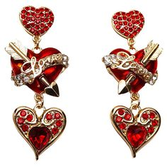 Ritzy Couture Love Life Heart and Arrow Red Dangle Post Earrings (Goldtone) *** More info could be found at the image url.-It is an affiliate link to Amazon. #Earring