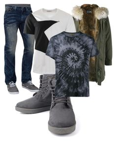 """""""Bez naslova #205"""" by rikyy ❤ liked on Polyvore featuring Affliction, Yves Salomon Homme, Versace, Valentino, men's fashion and menswear"""