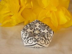Art Nouveau Lily Blackwork Biscornu Pincushion by RedCatt on Etsy, £1.95