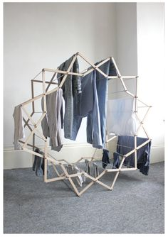 Such an amazing design for a laundry drying rack! From a (I think) Polish blog, klosinski.net.