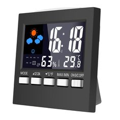 Temperature Humidity Alarm Clocks Digital Lcd Weather Led Display Calendar Timer #Unbranded