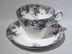 Very Rare SHELLEY DAINTY BLACK CUP & SAUCER OXFORD SHAPE CUP/COURT SHAPE HANDLE  #Shelley