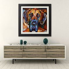Why the Long Face, Giclee High Quality Print, Boxer, Dog, Orange, Brown, Yellows, Blues, Wall Art, Modern Art, Expression, Contemporary Art