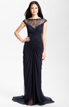 Tadashi Shoji Lace Illusion Yoke Ruched Mesh Gown available at Nordstrom - http://shop.nordstrom.com/S/tadashi-shoji-lace-illusion-yoke-ruched-mesh-gown/3301701?origin=category==8239