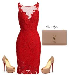 """""""Untitled #23"""" by chic-designs ❤ liked on Polyvore featuring ML Monique Lhuillier, Christian Louboutin and Yves Saint Laurent"""