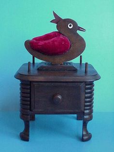 Primitive Old Antique Walnut Wood Folk Art Sewing Box
