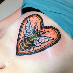 Neotraditional bee in honeycomb heart by Abby Lusk at Diversified Ink; Sweet Tattoos, Baby Tattoos, Cool Tattoos, Awesome Tattoos, Tatoos, Honeycomb Tattoo, Bumble Bee Tattoo, Insect Tattoo, Traditional Ink