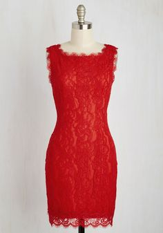 Wondrous in a Million Dress - Mid-length, Knit, Lace, Red, Solid, Exposed zipper, Lace, Party, Cocktail, Shift, Sleeveless