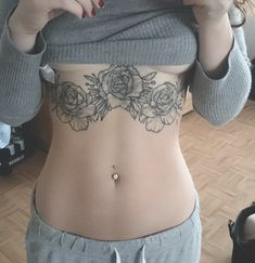 Tattoo underboob Rose Vintage dot dotwork patriciacäciliatattoo Body muscles flat belly skinny Art ink Girl sport