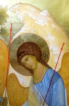 The Holy Trinity. Byzantine Icons, Byzantine Art, Religious Icons, Religious Art, George Tooker, Writing Icon, Greek Icons, Roman Church, Angel Images