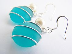 Seaglass Bridesmaids sets - Tahitian Teal Earrings - Glass Pearl - Other Colors - Earrings available - Weddings - affordable - seaside