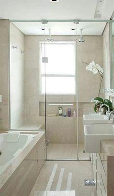 Set up a small bathroom - accept the challenge!- Kleines Bad einrichten – nehmen Sie die Herausforderung an! small bathroom tile built-in bathtub floor level shower - Small Bathroom Tiles, Laundry In Bathroom, Bathroom Renos, Bathroom Layout, Bathroom Interior, Bathroom Ideas, Shower Bathroom, Narrow Bathroom, Shower Ideas