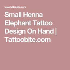Small Henna Elephant Tattoo Design On Hand   Tattoobite.com