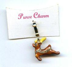 "Vtg 1980s 3D Enamel Flying Reindeer Gold Tone Pendant ""Purse Charm"" on Card"