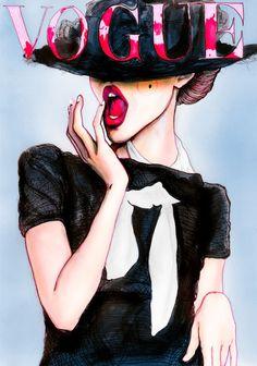 Fashion Illustration Deutce Vogue Cover by artist Cate Parr