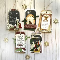 """""""Away in a Manger"""" Tag Set (Echo Park Paper) Cricut Christmas Cards, Christmas Holidays, Christmas Crafts, Christmas Ornaments, Echo Park Paper, Christian Cards, Handmade Tags, Journal Cards, Card Making"""