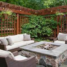Image 12 of 16 from gallery of Beautiful Outdoor Privacy Screen Ideas. This wonderful outdoor seating area featuring a custom built in gas fire pit with elegant wooden outdoor privacy screen was designed by rolling landscapes inc Privacy Screen Outdoor, Backyard Privacy, Backyard Patio, Backyard Landscaping, Privacy Screens, Backyard Seating, Landscaping Ideas, Rustic Backyard, Privacy Walls