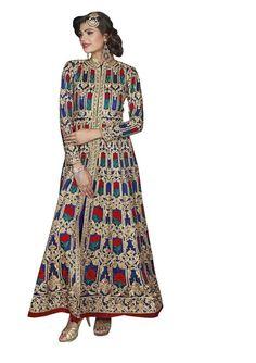 65fbe04822c Indian Pakistani Designer Blue Colored Georgette Salwar suit Bridal Salwar  Kameez Anarkali Salwar Suit for women
