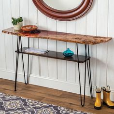 Add a shelf, or multiple shelves, to any table with hairpin legs—discreet bracket design stays almost entirely out-of-sight. Hairpin Table, Hairpin Legs, Build A Table, Make A Table, Wooden Trestle Table, Coffee Table With Shelf, Coffee Tables, Shelf Brackets, Low Shelves