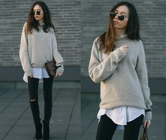 Get this look: http://lb.nu/look/7315288  More looks by Beatrice Gutu: http://lb.nu/thefashioncuisine  Items in this look:  Sweater, Shirt, Jeans, Bag, Shoes   #chic #classic #minimal