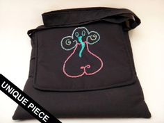 Shoulder bag with modern elephant handmade embroidery. Produced in India by rural women, design by italian artist Benedetta Salvi. Disabled People, Italian Artist, Design Products, Women Empowerment, Elephant, Textiles, India, Shoulder Bag, Embroidery