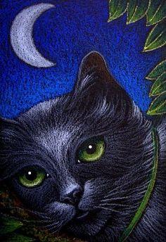 Cyra R. Cancel  | BLACK CAT KATZE CHAT - GREEN EYES - by Cyra R. Cancel | Black CATS #CyraCancelArt #Cyra #Art