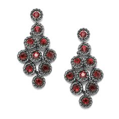 Siam Red Crystal Kite Shape Dangle Earrings