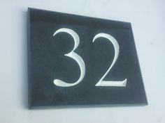 Slate house number sign Mine was by the slate sign company Slate House Numbers, Door Numbers, House Plaques, Door Plaques, House Beautiful, Beautiful Homes, Slate Signs, Cottage Porch, House Names