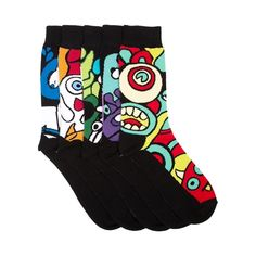 Shop for Mens Monster Art Crew Socks 5 Pack in Assorted at Journeys Shoes. Shop today for the hottest brands in mens shoes and womens shoes at Journeys.com.Scary-cool monster art crew socks featuring multicolored knit graphics with black contrast. 5 pack assortment.