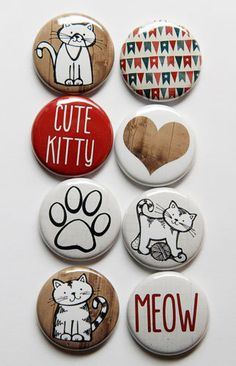 Cute Kitty Flair by aflairforbuttons on Etsy, $6.00